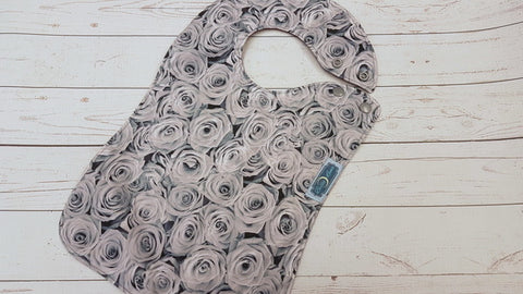 Gray Roses, Waterproof Boutique Bib <br>Instock and ready to ship