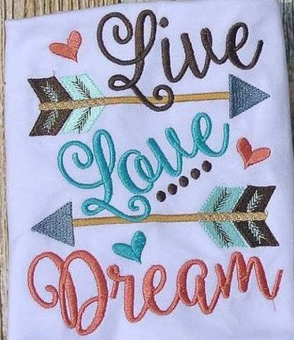 Live, Love, Dream<br>Choice of Coral or Mocha Thread<br>*PRE ORDER* <br>Embroidered, One Size Cloth Pocket Diaper