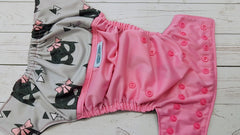 Pocket- Batty Eyes (raspberry outer pul, black inner awj, hot pink snaps)<br>PK Wrap Around, One Size Pocket Diaper<br>Instock and Ready to Ship
