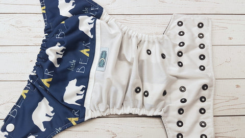 Little Bear (white pul, navy awj, two toned snaps; white caps, navy pieces) <br>PK Wrap Around, One Size Pocket Diaper<br>Instock and Ready to Ship