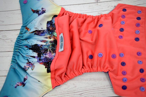 Coral Watercolor Castle (coral outer, imperial inner, med purple, violet, imperial multi snaps) <br>Wrap Around, One Size Pocket Diaper<br>Instock and Ready to Ship