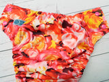 Tangerine Bloom (magenta awj, two toned snaps; hot pink caps, marigold pieces) <br>Performance Knit Traditional, One Size Pocket Diaper<br>Instock and Ready to Ship