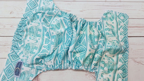 Seaspray Aztec Elephants (white awj & snaps) 6.1 <br>Traditional, One Size Pocket Diaper<br>Instock and Ready to Ship