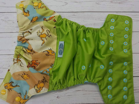 Speak for the Trees (Ribbit PUL, Seaspray AWJ, Two toned Snaps- Marigold Caps & Seaspray Pieces) <br>Wrap Around, One Size Pocket Diaper<br>Instock and Ready to Ship
