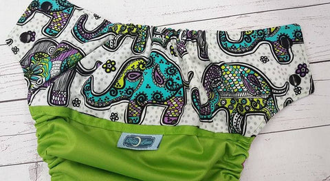 Paisley Elephants (ribbit pul, violet awj, two toned snaps, black caps, aqua pieces) <br>Wrap Around, One Size Pocket Diaper<br>Instock and Ready to Ship