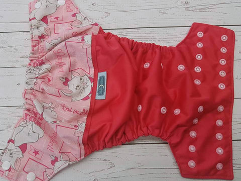 Just Purrfect (Magenta PUL, Raspberry AWJ, Two toned Snaps- White CAPS & Light  Pink Piece)<br>Wrap Around, One Size Pocket Diaper<br>Instock and Ready to Ship