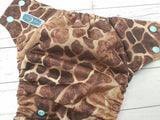 Seaspray Giraffe (Seaspray AWJ, Seaspray Snaps)<br>Traditional, One Size Pocket Diaper<br>Instock and Ready to Ship
