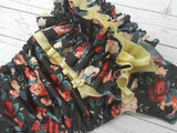 Vintage Rose Bush WITH Coordinating Ruffle (Butter AWJ, Black Snaps)<br>Traditional, One Size Pocket Diaper<br>Instock and Ready to Ship