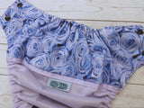 Dusty Rose Bouquet (Lavender PUL, Navy AWJ, Snaps Navy Blue)<br>Wrap Around, One Size Pocket Diaper<br>Instock and Ready to Ship