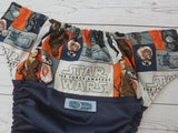Awakened Force (Navy PUL, Orange AWJ, Silver Snaps)<br>Wrap Around, One Size Pocket Diaper<br>Instock and Ready to Ship