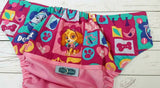 Pretty Puppy (raspberry pul, seaspray awj, two toned snaps; hot pink caps, seaspray pieces) <br>Wrap Around, One Size Pocket Diaper<br>Instock and Ready to Ship