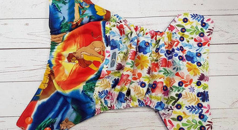 Lions on Flowers (royal awj, two toned snaps; orange caps, royal pieces) <br>Wrapped Traditional, One Size Pocket Diaper<br>Instock and Ready to Ship