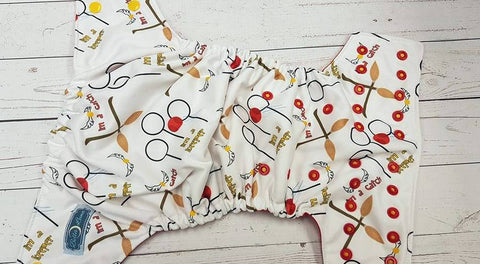 I'm a Keeper (red awj, two toned snaps; marigold caps, red pieces) <br>Performance Knit Traditional, One Size Pocket Diaper<br>Instock and Ready to Ship