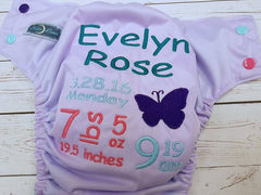 Butterfly, Custom Birth Announcement<br>Embroidered Diaper