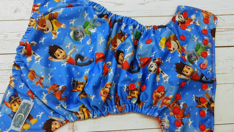 Puppies On Patrol (red awj & snaps) 6.1 <br>Traditional, One Size Pocket Diaper<br>Instock and Ready to Ship