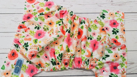 Painter's Garden (white awj & snaps) <br>Traditional, One Size Pocket Diaper<br>Instock and Ready to Ship