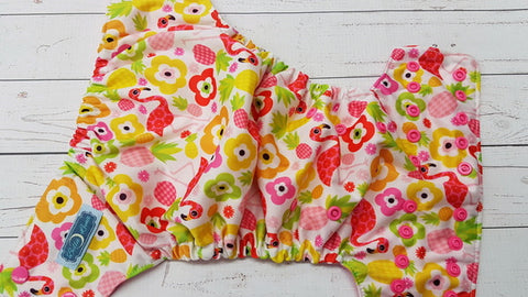 Tropical Flamingo (raspberry awj, hot pink snaps) <br>Traditional, One Size Pocket Diaper<br>Instock and Ready to Ship
