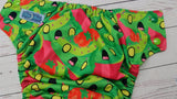 Killer Watermelon (spring green awj, multi snaps; kelly, apple alternating ) <br>Performance Knit Traditional, One Size Pocket Diaper<br>Instock and Ready to Ship