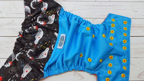 Swimming Narwhals (aqua pul, red awj, two toned snaps; red caps, marigold pieces) 6.1 <br>Printed PUL Wrap Around, One Size Pocket Diaper<br>Instock and Ready to Ship