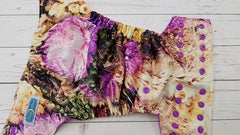 Pocket- Late Summer Blossoms Exclusive (violet awj & snaps)<br>Poly Traditional, One Size Diaper<br>Instock and Ready to Ship