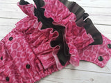 Pink Cheetah WITH Coordinating Ruffles (black awj & snaps) <br>Traditional, One Size Pocket Diaper<br>Instock and Ready to Ship