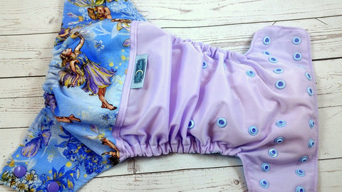 Lavender Glitter Faries ( lavender outer two-toned snaps-- medium purple caps / light blue pieces )<br>Wrap Around, One Size Pocket Diaper<br>Instock and Ready to Ship