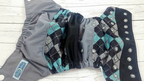 Style In Argyle (two-toned snaps - whie caps / silver pieces )<br>Boutique Scrappy, One Size Pocket Diaper<br>Instock and Ready to Ship