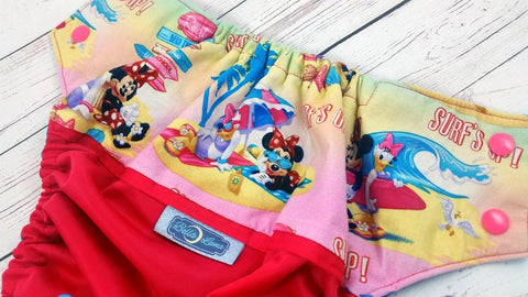 Minnies at the Beach (magenta outer, two-toned snaps - hot pink caps /aqua pieces)<br>Wrap Around, One Size Pocket Diaper<br>Instock and Ready to Ship