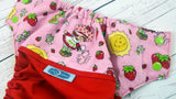 Berry Cute Shortcake (red outer, two-toned snaps - apple caps / light pink pieces)<br>Wrap Around, One Size Pocket Diaper<br>Instock and Ready to Ship