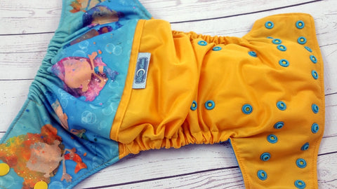 What's For Lunch? (marigold outer, two-toned snaps - marigold cap / aqua piece)<br>Wrap Around, One Size Pocket Diaper<br>Instock and Ready to Ship