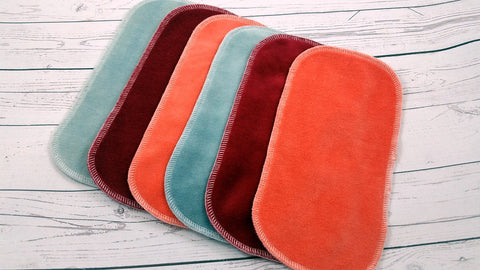 Set of 6 Cotton Velour Wipes<br> 2 Red, 2 Coral, 2 Gray<br>Instock and Ready to Ship