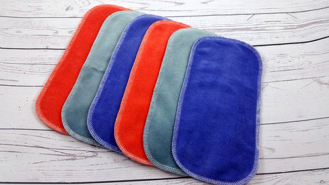 Set of 6 Cotton Velour Wipes<br>2 Lavender, 2 Coral, 2 Gray<br>Instock and Ready to Ship
