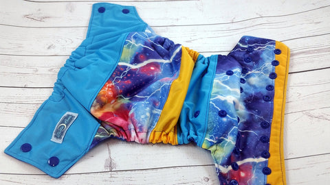 Cosmic Lightning (royal snaps)<br>Boutique Scrappy, One Size Pocket Diaper<br>Instock and Ready to Ship