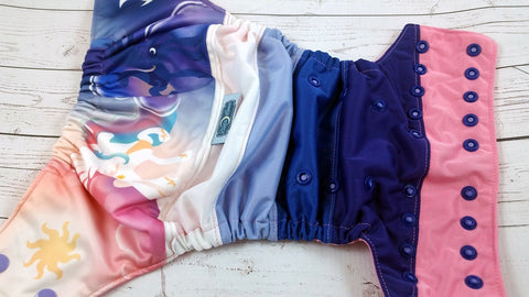 Half Day, Half Night (two-toned snaps - medium purple caps / royal pieces)<br>PK Wrapped Scrappy, One Size Pocket Diaper<br>Instock and Ready to Ship