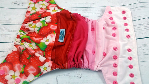 Strawberry Shake<br>PK Wrapped Scrappy, One Size Pocket Diaper<br>Instock and Ready to Ship