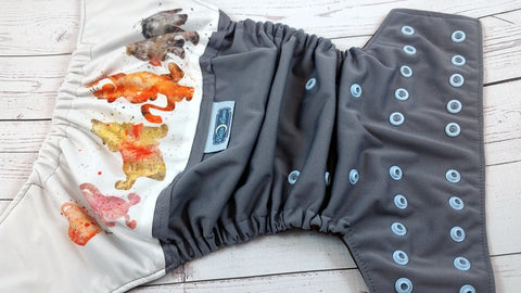 Hundred Acre Woods (grey outer, SURPRISE gender neutral two toned snaps)<br>Wrap Around, One Size Pocket Diaper<br>Instock and Ready to Ship