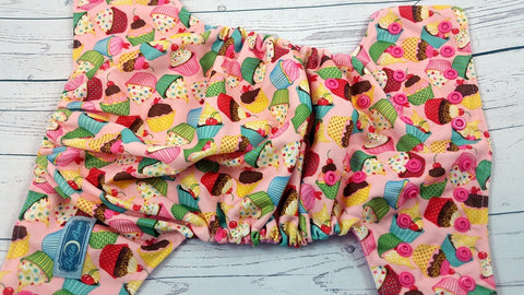 My Cute Cupcake ( hot pink snaps)<br>Traditional, One Size Pocket Diaper<br>Instock and Ready to Ship