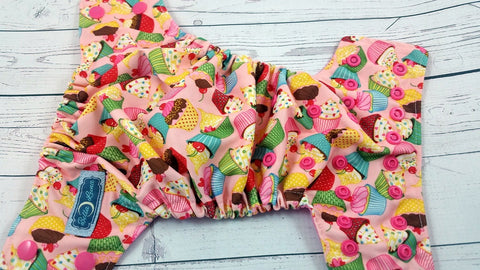 Newborn/Size 1- Little Cupcake (hot pink snaps)<br>Traditional Size One Pocket Diaper<br>Instock and Ready to Ship