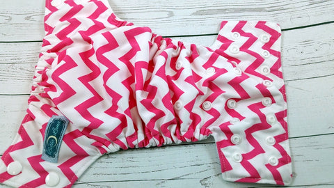 Newborn/Size 1- White & Pink (white snaps)<br>Traditional Size One Pocket Diaper<br>Instock and Ready to Ship