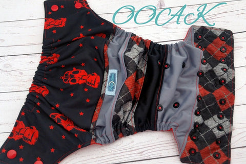 Red Team Go! ( two-toned snaps - red caps / black pieces) <br>ONE OF A KIND<br>One Size Pocket Diaper<br>Instock and Ready to Ship
