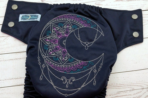 Luna Intricato Violet (navy outer, silver snaps)<br>Embroidered, One Size Pocket Diaper<br>Instock and Ready to Ship