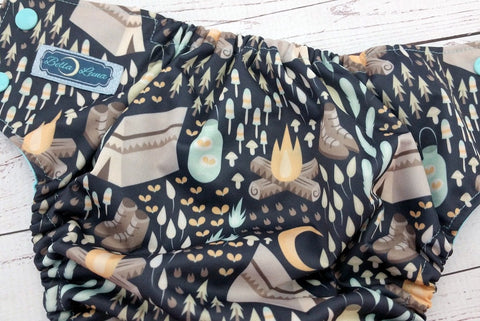 Moonlight Campout (two-toned snaps - seaspray caps / silver pieces) <br>Traditional, One Size Pocket Diaper<br>Instock and Ready to Ship