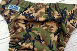 Olive Camo (brown snaps) <br>Traditional, One Size Pocket Diaper<br>Instock and Ready to Ship
