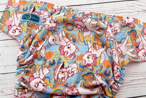 Pretty Marie Kitty (light pink snaps) <br>Traditional, One Size Pocket Diaper<br>Instock and Ready to Ship
