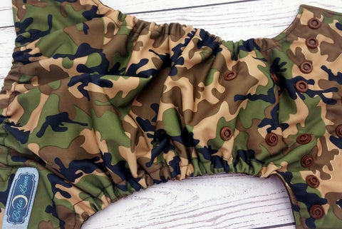 Newborn Olive Camo (brown snaps) <br>Traditional Size One Pocket Diaper<br>Instock and Ready to Ship