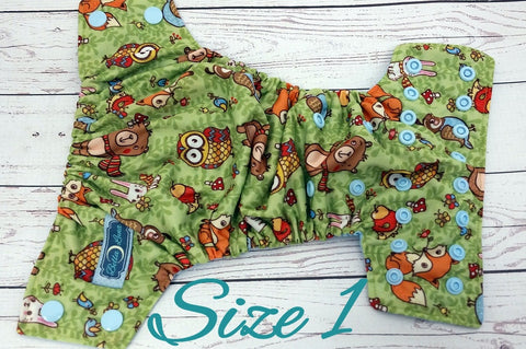 NEWBORN Hooty & Friends (light blue awj & snaps) <br>Traditional Size One Pocket Diaper<br>Instock and Ready to Ship
