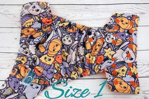 NEWBORN Fanged Cuties (orange awj, two toned; silver caps, orange pieces) <br>Traditional Size One Pocket Diaper<br>Instock and Ready to Ship