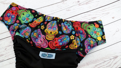 Rainbow Watercolor Skulls (black pul, aqua awj, rainbow snaps) <br>Wrap Around, One Size Pocket Diaper<br>Instock and Ready to Ship