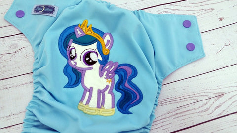 Sparkly Celestial Princess (lavender awj, med purple snaps)<br>Embroidered, One Size Pocket Diaper<br>Instock and Ready to Ship