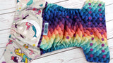 Sleepy Mermaid Scales (printed pul, violet awj, violet snaps) <br>Wrap Around, One Size Pocket Diaper<br>Instock and Ready to Ship